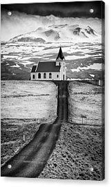 Iceland Ingjaldsholl Church And Mountains Black And White Acrylic Print