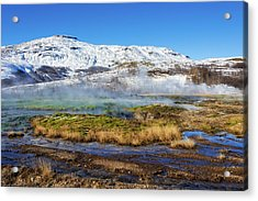 Acrylic Print featuring the photograph Iceland Landscape Geothermal Area Haukadalur by Matthias Hauser