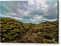 Iceland Moss And Clouds Acrylic Print