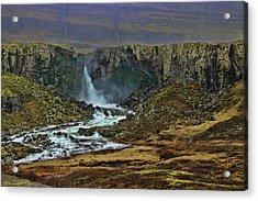Iceland Waterfall # 3 Acrylic Print by Allen Beatty