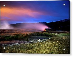Acrylic Print featuring the photograph Icelandic Geyser At Night by Dubi Roman