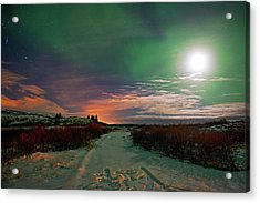 Acrylic Print featuring the photograph Iceland's Landscape At Night by Dubi Roman