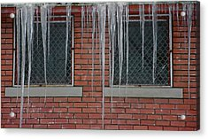 Icicles 2 - In Front Of Windows Off Red Brick Bldg. Acrylic Print by Steve Ohlsen