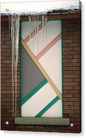 Icicles 3 - In Front Of Architectural Design Off Red Brick Bldg. Acrylic Print by Steve Ohlsen