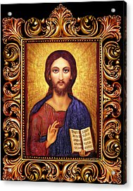 Icon Christ Altar Acrylic Print by Ananda Vdovic