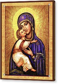Icon Madonna And Infant Jesus Acrylic Print by Ananda Vdovic