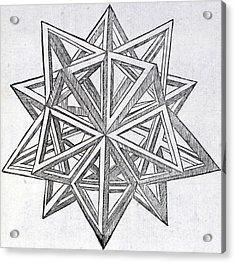 Icosaedron Elevatum Vacuum Acrylic Print by Leonardo Da Vinci