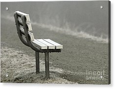 Icy Bench In The Fog Acrylic Print