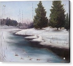 Acrylic Print featuring the painting Icy Blue by Diane Daigle