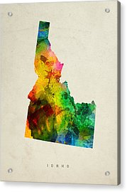 Idaho State Map 01 Acrylic Print by Aged Pixel
