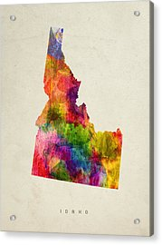 Idaho State Map 02 Acrylic Print by Aged Pixel