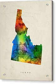 Idaho State Map 03 Acrylic Print by Aged Pixel