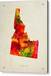 Idaho State Map 04 Acrylic Print by Aged Pixel
