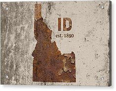 Idaho State Map Industrial Rusted Metal On Cement Wall With Founding Date Series 045 Acrylic Print by Design Turnpike