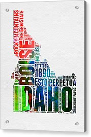 Idaho Watercolor Word Cloud  Acrylic Print