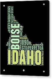 Idaho Word Cloud 1 Acrylic Print
