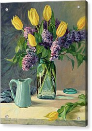 Ideal - Yellow Tulips And Lilacs In A Blue Mason Jar Acrylic Print