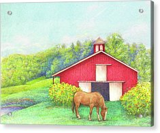 Acrylic Print featuring the painting Idyllic Summer Landscape Barn With Horse by Judith Cheng