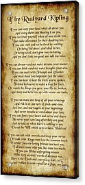 If By Rudyard Kipling - Long Parchment Style  Acrylic Print