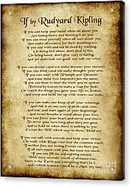 If By Rudyard Kipling - Parchment Style Acrylic Print