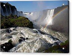 Iguassu Falls With Rainbow Acrylic Print