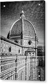 Acrylic Print featuring the photograph Il Duomo Florence Italy Bw by Joan Carroll