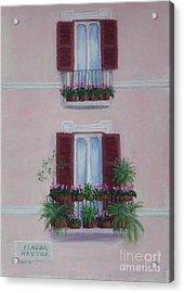 Il Terrazo In Roma  Piazza Navona Acrylic Print by Mary Erbert