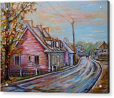 Iles D'orleans Quebec Village Scene Acrylic Print by Carole Spandau