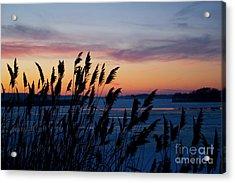 Illinois River Winter Sunset  Acrylic Print