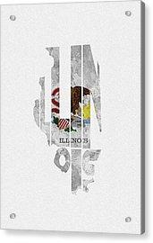 Illinois Typographic Map Flag Acrylic Print