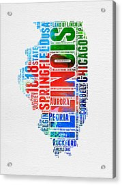 Illinois Watercolor Word Cloud Map  Acrylic Print by Naxart Studio