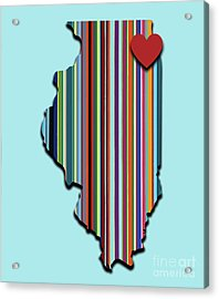 Acrylic Print featuring the mixed media Illinois With Love Geometric Map by Carla Bank