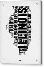 Illinois Word Cloud Map 2 Acrylic Print
