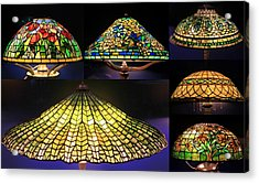 Illuminated Tiffany Lamps - A Collage Acrylic Print