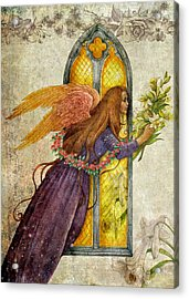 Illustrated Angel And Lily Acrylic Print