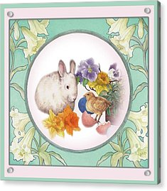 Illustrated Bunny With Easter Floral Acrylic Print by Judith Cheng