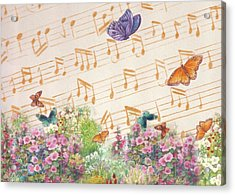 Acrylic Print featuring the painting Illustrated Butterfly Garden With Musical Notes by Judith Cheng