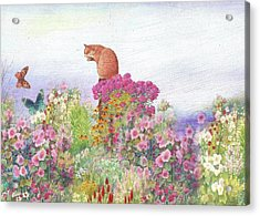 Illustrated Cat In Garden Acrylic Print
