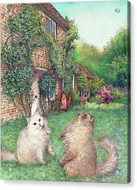 Illustrated Cats In English Cottage Garden Acrylic Print