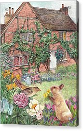 Illustrated English Cottage With Bunny And Bird Acrylic Print