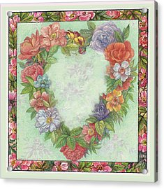 Illustrated Heart Wreath Acrylic Print