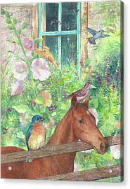 Illustrated Horse And Birds In Garden Acrylic Print