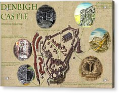 Illustrated Map Of Denbigh Castle 1611 Ad Acrylic Print by Martin Williams