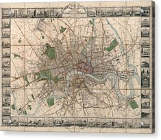Illustrated Plan Of London And Its Environs - Map Of London - Historic Map - Antique Map Of London Acrylic Print