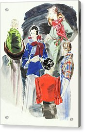 Illustration Of A Group Of Models Acrylic Print by Rene Bouet-Willaumez