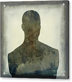 Illustration Of A Human Bust. Silhouette Acrylic Print by Bernard Jaubert