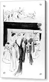 Illustration Of A Man And Women At The Plaza Acrylic Print