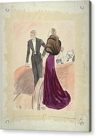 Illustration Of A Woman And Man Dressed Acrylic Print