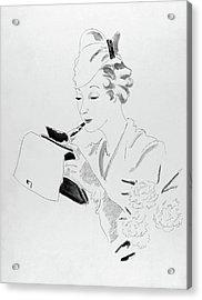 Illustration Of A Woman Applying Lipstick Acrylic Print