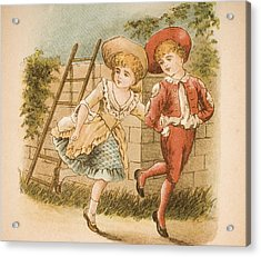 Illustration Of Girl And Boy From Old Acrylic Print